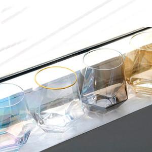 300 ملليلتر نظارات النبيذ الزجاج حليب كأس الملونة كريستال الزجاج هندسة سداسية كوب بنوم بنه الويسكي كأس DHD36 جودة عالية M2