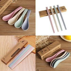 Wheat Straw Chopsticks Set Household Prevent Slip Tableware Sets Multi Colors Chopsticks Spoon Suit New Arrival 1 3cy L1