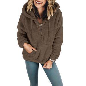 Женская капюшона мода зимняя куртка с капюшоном теплый леди свободный рукав обе стороны шерстяные пальто сплошные цвета женские пальто