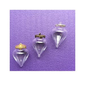 50set lot 38*15mm Wishing Glass Vials Pendant Water Drop Shape Glass Bottle With 15mm Crown Setting Base Charms Jewelry bbywDh