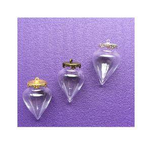 50set / lote 38 * 15mm Desejando frascos de vidro de gota de água pingente garrafa de vidro com 15mm coroa de coroa Base encantos jóias bbywdh
