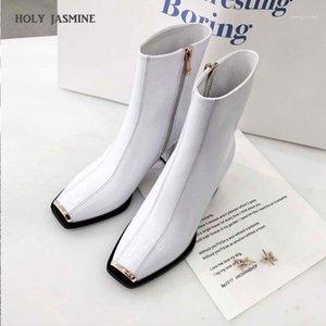 SANTY JASMINE PATENTE DE PATENTES Botas para mujer NUEVO Primavera / Autumn Square Heel Toel Toe Toe Boots Cremallera Zapatos de damas básicas Rubber1