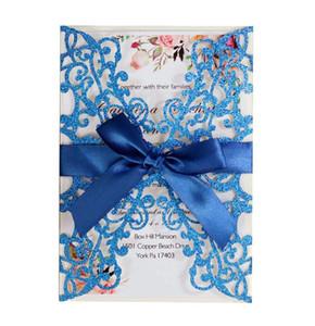 Glitter Papier Laser Cut Hochzeitseinladungen Personalisierte Hochzeitseinladungskarte mit Band- und Umschlag-Party-Einladungen BWA2642