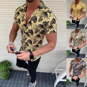 Men Summer Fashion V-Neck Shirts Casual Striped Shirts Beach Outdoor Tops Short-Sleeve Top Blouse camisa masculina