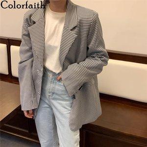 Colorfaith novo 2020 outono inverno feminino blazers plaid botons bolsos jaquetas xadrez vintage vintage grande senhora selvagem tops jk7966