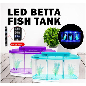 Senzeal Transparent Acrylic Fighting Fish Tank Triple Cube Aquarium Led Lighting Dimmable Betta Separate Bre qylXIP packing2010