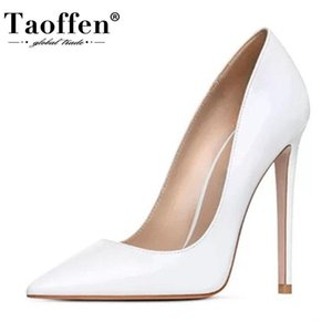 Taoffen Sexy Leather Women Pumps Fashion Soft Thin High Heels For Women Shoes Fashion Wedding Pointed Toe Footwear Size 35-45