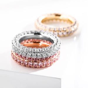 Three Rows of Zircon Rings for Men and Women Hiphop Rapper Jewelry Tennis Chain Ring Size 7-11