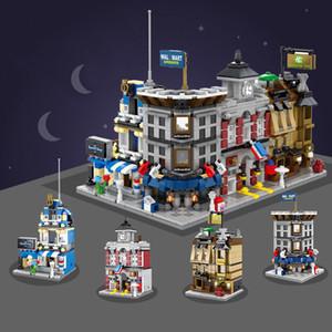 SEMBO Mini Store DIY Building Blocks SD6500-SD6507 Micro street Shop 3D with Lighting Auction Model Kids toys Bricks Gift
