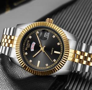 WLISTH Mens 고전적인 파워 리저브 남성 시계 유럽 및 미국 골드 석영 시계 강철 손목