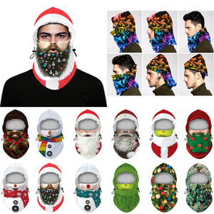 Multifunctional Hat Bib Christmas Cosplay Supplies Santa Claus Props Polar Fleece Windproof and Antifreeze Multifunctional Hood XD24229