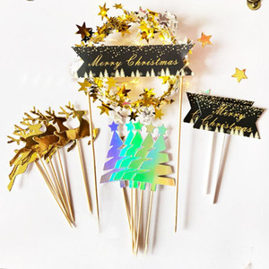 2020 Happy New Year Paper Cake Topper Led Light Golden Garland Cake Top Flag Decoration Birthday Wedding Party Supplies