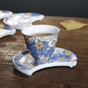 Color Enamel TeaCup Chinois Porcelaine Tea Ware Retro Sea Wave Bol à thé Coupe à thé et Soucoupe 60ml Samll TeaCup avec Coaster X1027