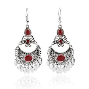 Bohemian Water Drop Tassel Earrings Ethnic Palace Style Classical Hollow Carved Earrings 8042