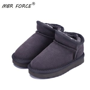 MBR FORCE Children Australia Classic Style Snow Boots Winter Warm Leather Flats Warterproof High-quality Boys Girls Ankle Boots Y1116