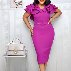 Falbala Elegant Women Party Dress Summer African Lady Office Short Sleeve Bodycon Dresses With Belt 2021 Ruffles Dinner Vestiods