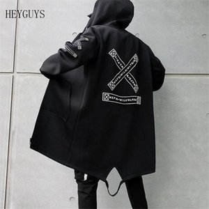NAGRI Hip Hop Jackets Men Streetwear Outerwear Coats Long Jackets Casual Men 2020 Fashion Windbreaker Black Navy White