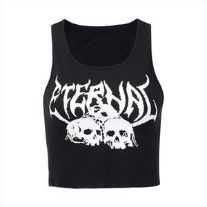 Dark Gorhic Symbol Symbol Skull Lettre Éternelle imprimée Tapots courts Tapards femmes Femmes filles Summer Crop Tanks Punk Giled Camis sans manches