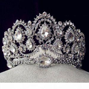 Korean style rhinestone queen wedding big crown and tiaras hot bridal crystal tiara hair jewelry accessories