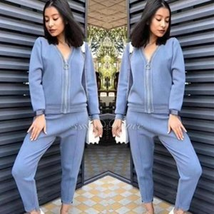 Winter Autumn Knitted Sweater Elegant Office Lady Outfits Zipper V Neck Tops And Pencil Pants Two Piece Set Tracksuit Women Suit