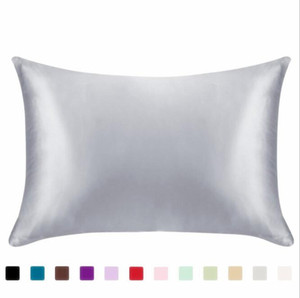 Silk Satin Pillowcase Solid Color Pillow Covers Sofa Cushion Square Pillow Case Sofa Throw Pillow Cushion Cover Pillowslip EWB3446