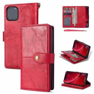Coque en cuir de portefeuille multifonction pour iPhone 12 Mini 11 Pro Max x XS XR SE2 7 8 Rétro Crazy Horse Strap Carte Slot Stand Stand Cover Cover Luxe