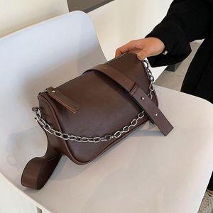 크로스 바디 브랜드 디자이너 PU 가죽 여성의 어깨 가방 패션 체인 핸드백 작은 양동이 크로스 바디