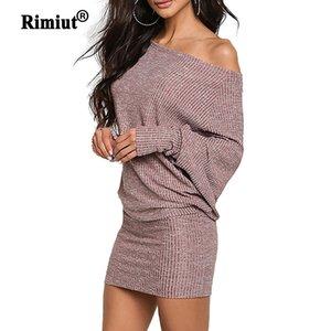 Rimiut une épaule lâche tricoté plus taille femme robes de femme automne hiver pull robes mini robe de hanche Y200720