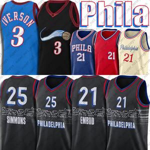 Joel 21 Embiid Jersey Ben 25 Simmons Jerseys RemPeback Allen 3 Iverson Basquete Jersey Philadelphias Jersey Julius 6 Erving Jerseys