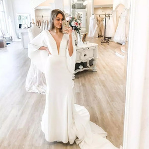 Simple Mermaid Wedding Dress 2021 Deep V Neck Sexy Satin Flare Sleeve Bride Dress Sweep Train Elegant Bridal Gowns For Lady Gorgeous
