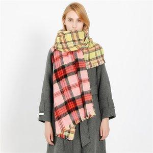 2020 autumn and winter new fashion color plaid pattern warm imitation cashmere scarf shawl