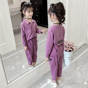 Girl Set Spring Autumn Kids Clothing Set 2020 Four Color Shirt+Cargo Pants 2 Pcs Set Teenage School Girls Full Sleeves Tracksuit Y1117