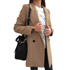 2021 new womens clothing designer winter fashion windbreaker coat coat solid color long sleeve double row button suit collar woolen coat wo