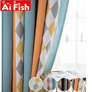 Jacquard Colored Diamond Geometry Nordic Curtains Stitching Stripe Window Shade Cloth Chenille Curtains For Living Room MY019#51