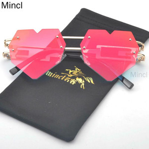 New Frameless Metal Fashion Women's mirror Sunglasses Love Heart Style Personality UV400 Glasses Men FML
