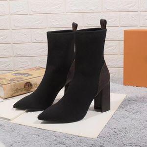 حار الشتاء محبوك أحذية مطاطا إلكتروني الكعوب سميكة أحذية النساء الأحذية منصة أحذية طويلة الأزياء الجلود الجوارب مصمم أحذية حجم 35-41