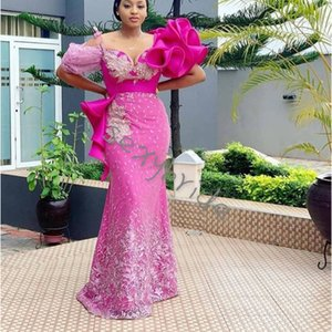Elegant African Fuchsia Sheath Evening Dresses Floor Length Appliques Lace Off Shoulder Short Sleeve Long Prom Dress Celebrity Party Gowns