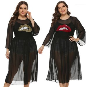 Fashion Plus Size Womens Clothing Ladies Designer Dress Sexy Sheer Lips Pattern Embroidery Crew Neck Dress