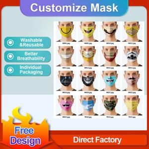 Belle personnalisation Logo Face Masques Masque Designers Adultes Enfants Anti anti-poussière Masque de fête à coupe-vent lavable Confort réutilisable Confort unisexe