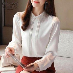 Kadın Bluzlar Gömlek Moda Beyaz Şifon Bluz Kadınlar 2021 Sonbahar Kazak Rahat Uzun Kollu Gömlek Tops Mujer 12193 Tops