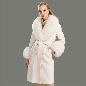 Wool Coat Women Pied De Poule Natural Fox Fur Collar Cashmere Wool Blends Long Outerwear Ladies Streetwear 201217