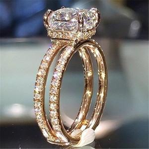 18K Gold Double Decker Crown Rincess Anillos Bague Rings 다이아몬드 Bizuteria 여성용 화이트 토파즈 링