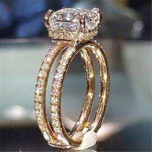 18K Gold Anillos Topaz Rincess Crown White Bague Rings Diamond Women Bizuteria Decker Ring Double Utgae 용