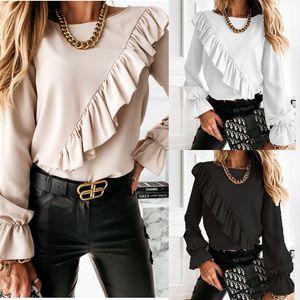 Irregular Falbala Panelled Womens Designer Tshirts Fashion Flare Sleeve Solid Color Womens Tees Casual New Females Tops