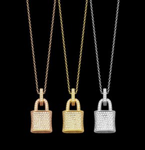 Fashion full diamond lock necklace iced out pendant for mens and women Party wedding lovers gift engagement stainless steel jewelry With BOX