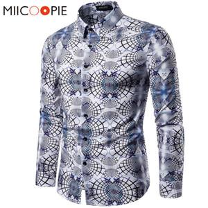 Hemden Männer Kleid 2019 Casual Abstract Spider Web Print Langarm Camisa Soziale Männer Gradient Elastizität Business Shirt Tops XXL Y0104
