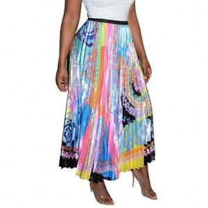 Elegant Flower Print Midi Pleated Skirt Women 2021 Autumn Winter Ladies Korean High Waist School Long Skirt Female Maxi Beach