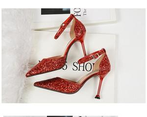 2021 New Designers Girls Fashion Dress Shoes Thin Heels Woman Boda Sexy Tacones Altos Zapato Al Aire Libre Punta de punta Lentejuelas Bombas de oro # P63