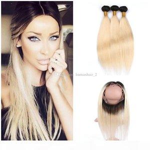 Düz İnsan Saç Paketler 360 Dantel Frontal Ombre Öncesi Mızraplı 360 Tam dantel frontals ile Koyu Kök Blonde Düz Saç