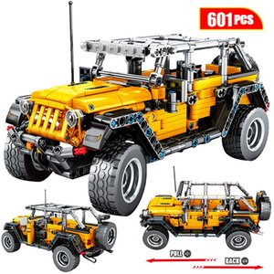 601pcs Creator Mechanical Pull Back Jeeped Off-road Vehicle Building Blocks For City Technic Car Bricks Toys For Boys Y1130